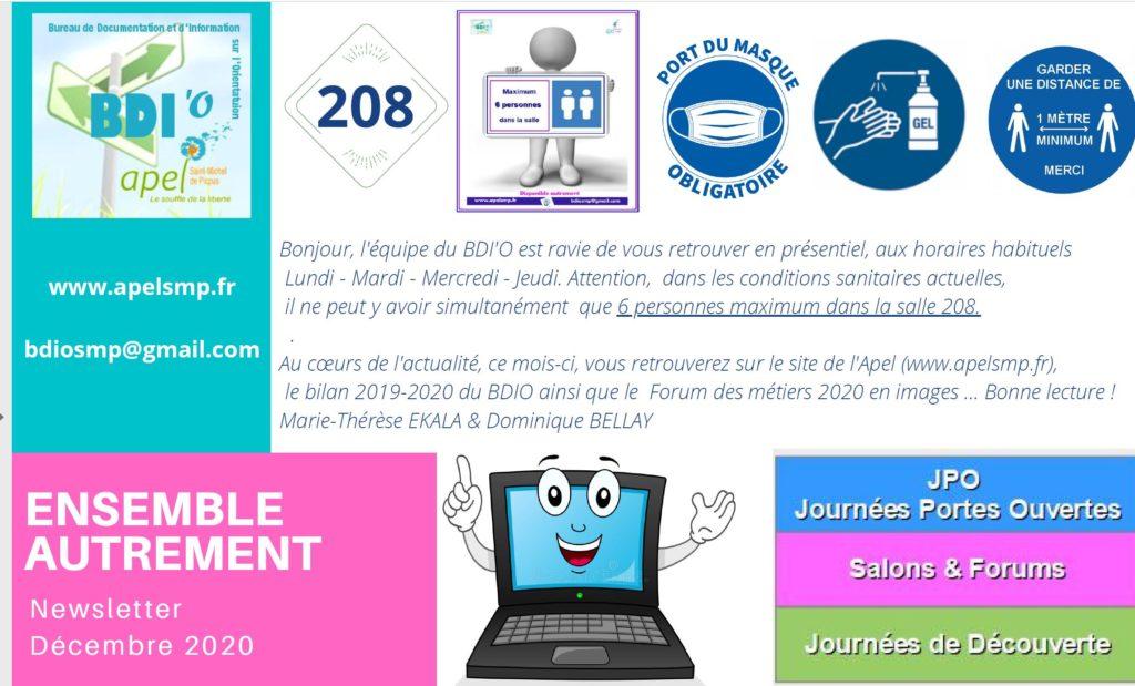 N°5 Au cœurs de l'actualité, ce mois-ci, vous retrouverez sur le site de l'Apel (www.apelsmp.fr), le bilan 2019-2020 du BDIO ainsi que le Forum des métiers 2020 en images .